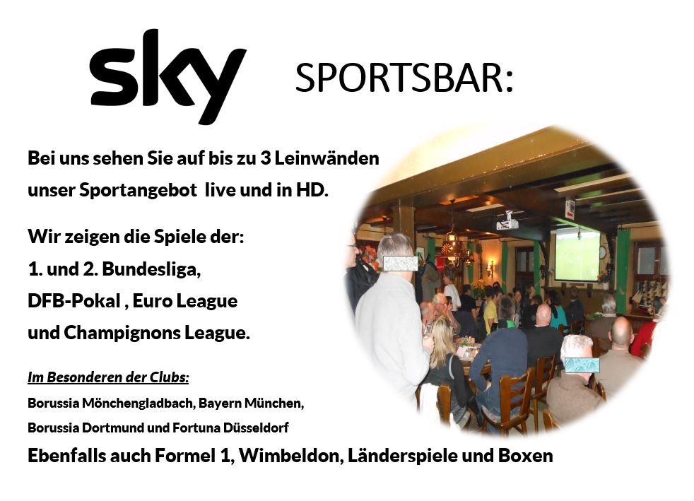 Sky Sportsbar In Korschenbroich Gaststätte Oedinger Zur